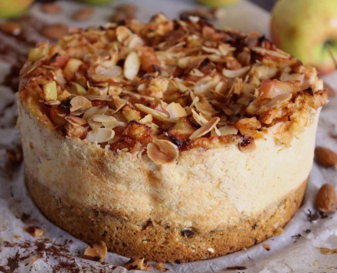 Hafer-Puddingkuchen mit Apfelhaube