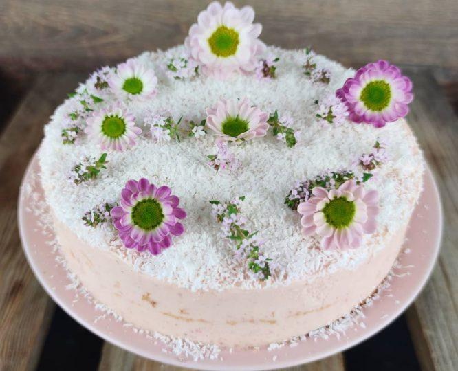 Vegane Kokos-Erdbeer Torte