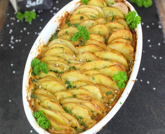 Veganes proteinreiches Kartoffel Gratin